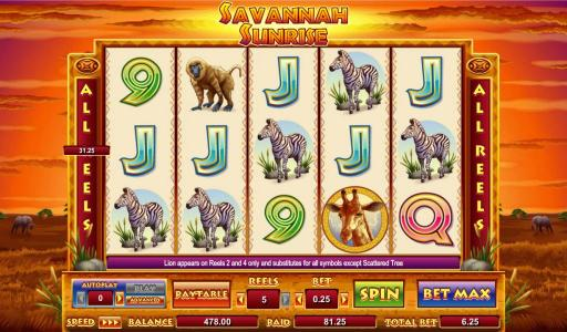 Savannah Sunrise Slot Game